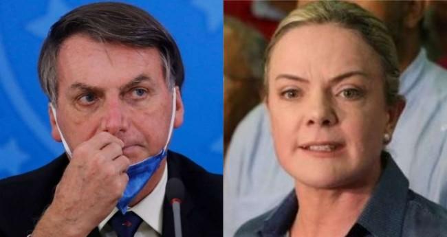 Fotomontagem: Jair Bolsonaro e Gleisi Hoffmann
