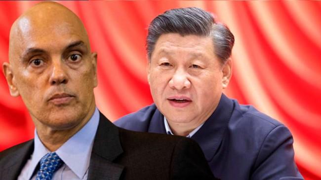Fotomontagem: Alexandre de Moraes e Xi Jinping