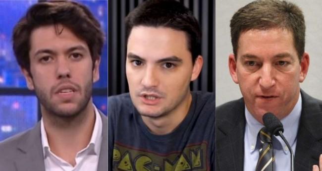 Fotomontagem: Caio Coppolla, Felipe Neto e Glenn Greenwald (Reprodução)