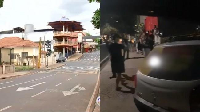 Cidade durante o lockdown e moradores protestando em frente à casa do prefeito