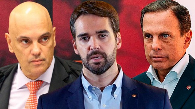 Fotomontagem: Alexandre de Moraes, Eduardo Leite e João Doria (Reprodução)