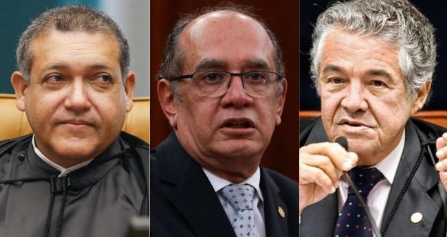 Fotomontagem: Kassio Nunes, Gilmar Mendes e Marco Aurélio (Reprodução)