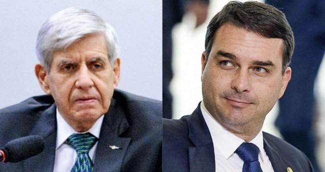Fotomontagem: General Augusto Heleno e Flávio Bolsonaro (reprodução)