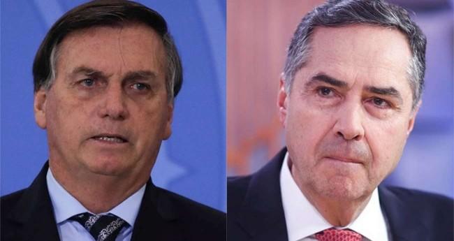 Fotomontagem: Jair Bolsonaro e Luis Roberto Barroso (Reprodução)