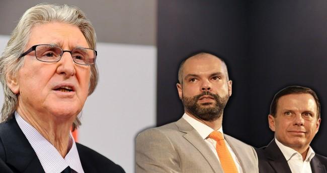 Fotomontagem: Sérgio Reis, Bruno Covas e João Doria (Reprodução)