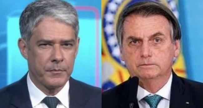Fotomontagem: William Bonner e Jair Bolsonaro (Reprodução)