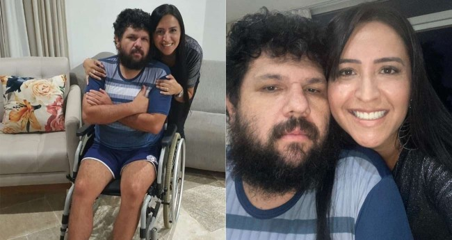 Oswaldo Eustáquio e sua esposa Sandra Terena - Foto: Reprodução/Twitter