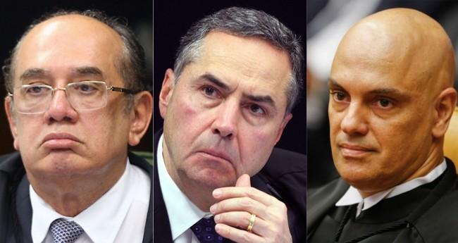 Gilmar Mendes, Luís Roberto Barroso e Alexandre de Moraes - Foto: Reprodução/SCO/STF