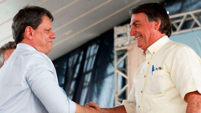 Tarcísio de Freitas e Jair Bolsonaro (reprodução)