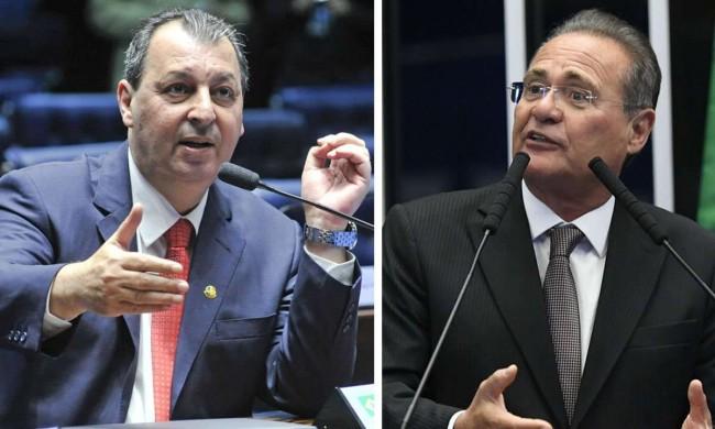 Omar Aziz e Renan Calheiros. Fotos: Geraldo Magela e Roque de Sá/Agência Senado