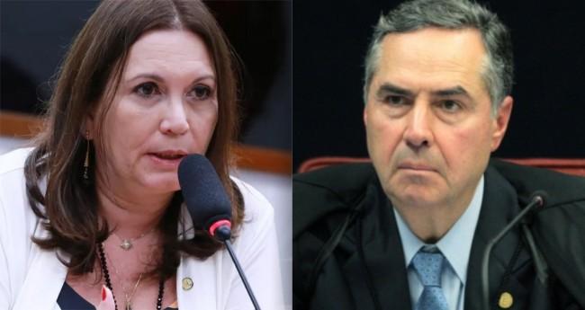 Fotomontagem: Bia Kicis e Luís Roberto Barroso (reprodução)
