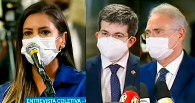 Foto Reprodução/Youtube - Berenice Leite, Randolfe Rodrigues e Renan Calheiros