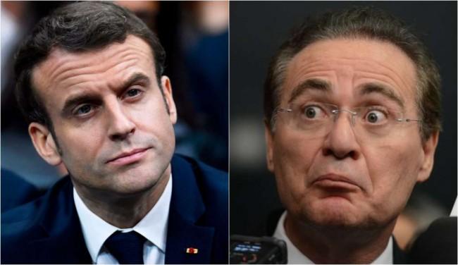 Presidente Macron e Renan Calheiros - Fotomontagem