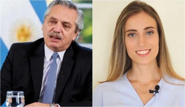 Alberto Fernández, presidente da Argentina, e a jornalista Maria Laura Assis - Fotomontagem