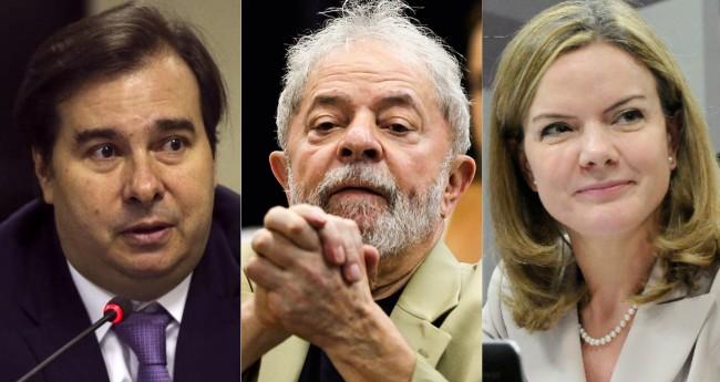 Rodrigo Maia, Lula e Gleisi Hoffmann - Foto: Reprodução/Internet