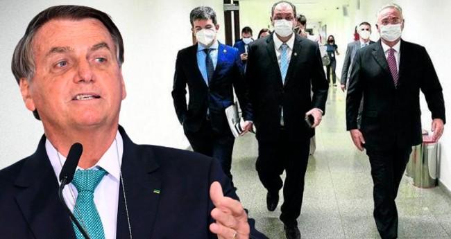 Jair Bolsonaro; Randolfe Rodrigues, Omar Aziz e Renan Calheiros - Foto: Pedro França/Agência Senado; Reprodução