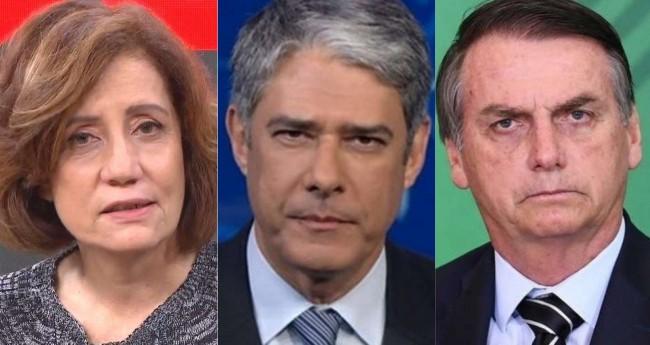 Miriam Leitão, William Bonner e Jair Bolsonaro - Foto: Reprodução