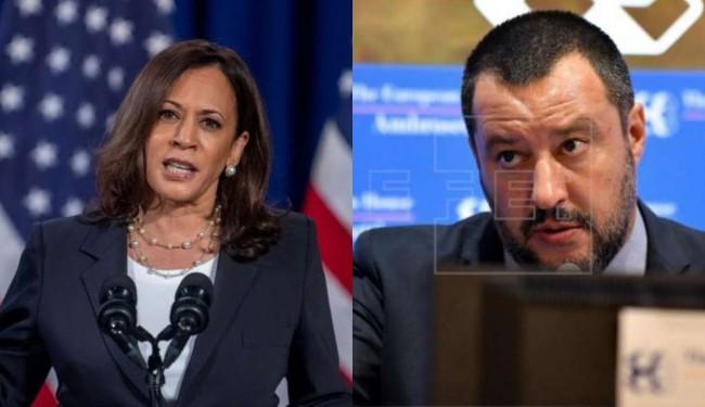 Kamala Harris e Matteo Salvini - Fotomontagem