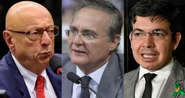 Espiridião Amin, Renan Calheiros e Randolfe Rodrigues - Foto: Reprodução