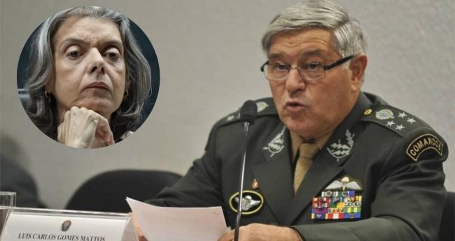 General Luis Carlos Gomes Mattos e Cármen Lúcia - Foto: Antônio Cruz/Agência Brasil; Reprodução