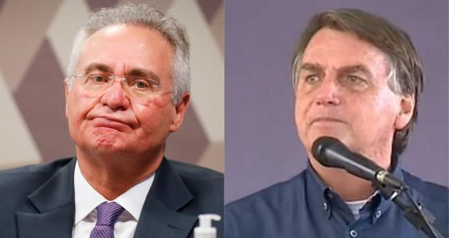 Renan Calheiros e Jair Bolsonaro - Foto: Sérgio Lima; Reprodução