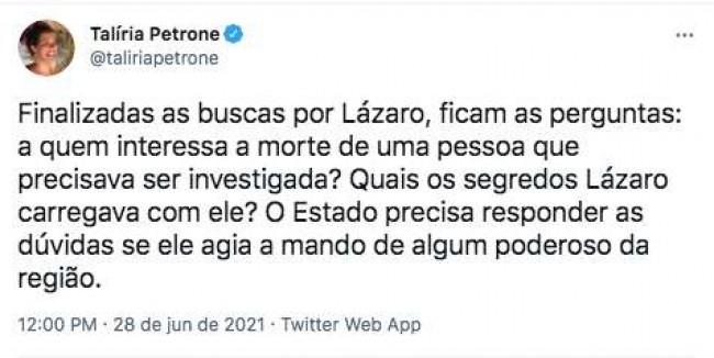 Post da deputada Talíria Petrone (PSOL)