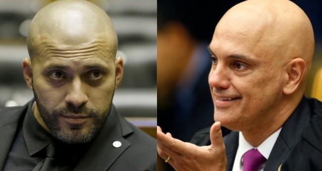 Daniel Silveira e Alexandre de Moraes - Foto: Reprodução; Rosinei Coutinho/STF