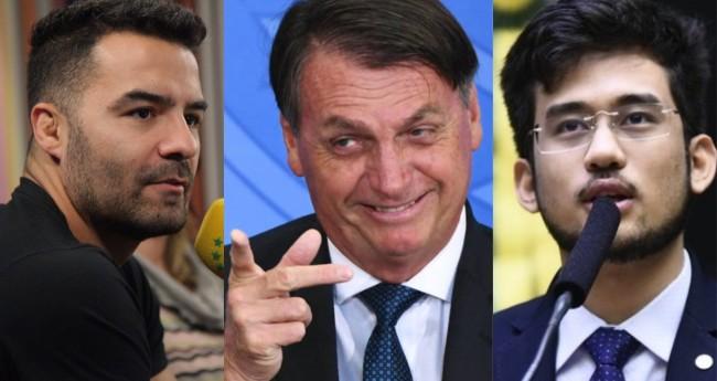 Arthur Mamãefalei do Val, Jair Bolsonaro e Kim Kataguiri - Foto: JP; Twitter; Câmara