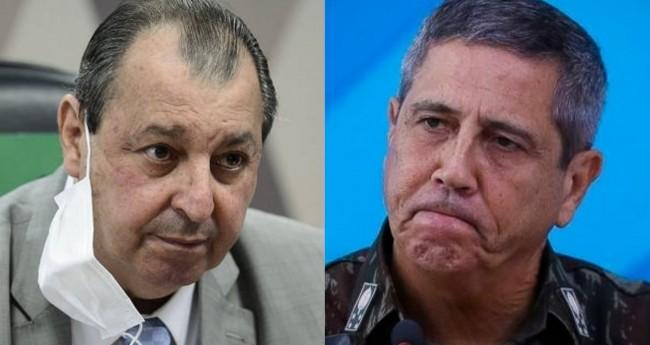 Omar Aziz e General Braga Netto - Foto: Pedro França/Agência Senado; Sérgio Lima