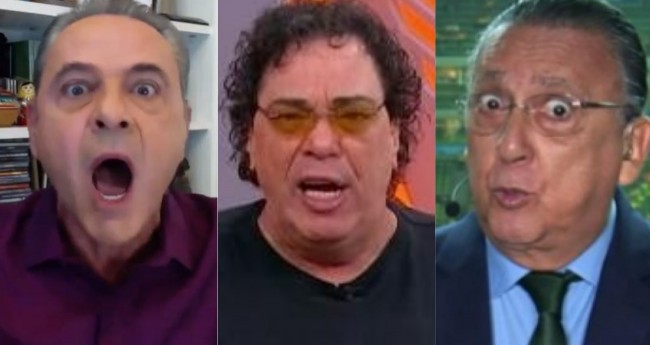 Luís Roberto, Walter Casagrande e Galvão Bueno - Foto: Reprodução/TV Globo