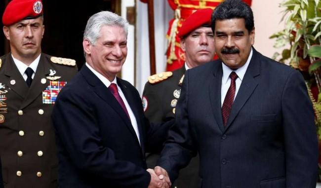 O presidente cubano Díaz-Canel e o ditador Maduro - Reprodução internet