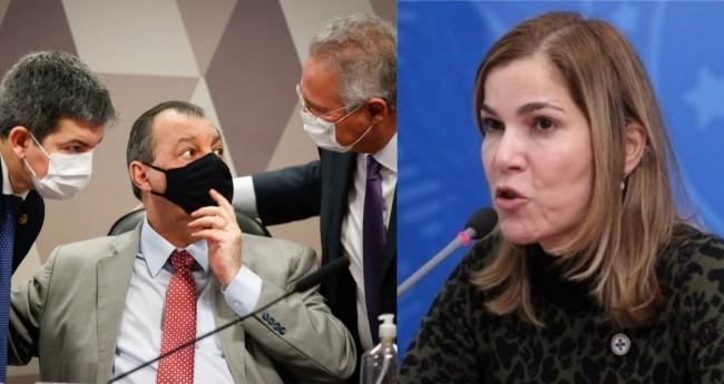 Cúpula da CPI e Mayra Pinheiro - Foto: Sérgio Lima; Júlio Nascimento/PR