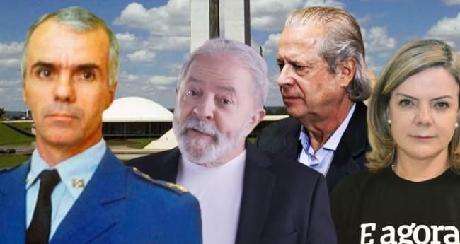 Fotomontagem: JCO - Major-Brigadeiro Jaime Rodrigues Sanchez, Lula, Dirceu e Gleisi