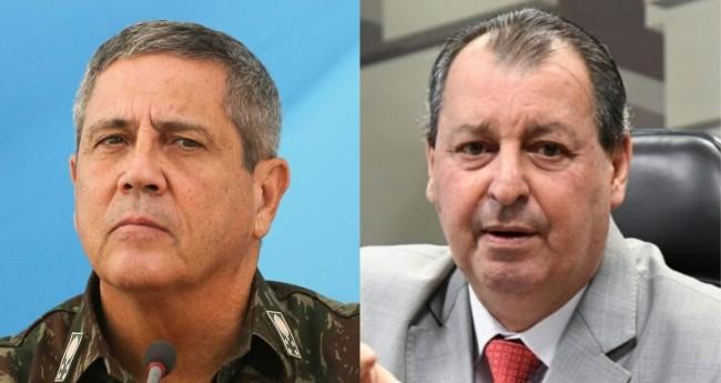 General Braga Netto e Omar Aziz - Foto: Reprodução; Senado Federal