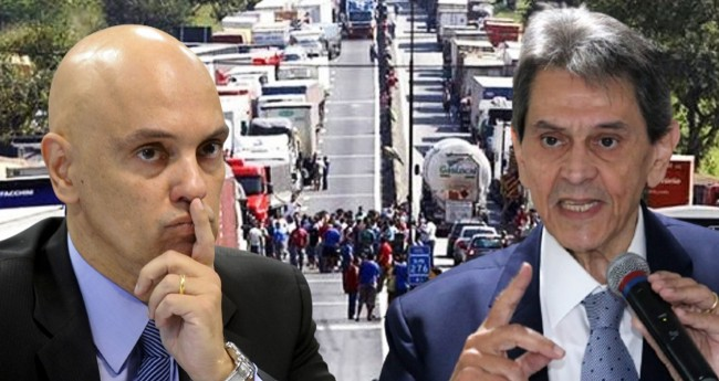 Alexandre de Moraes e Roberto Jefferson - Foto: Marcos Oliveira/Agência Senado; Mário Agra/PTB Nacional; Agência Brasil (fundo)