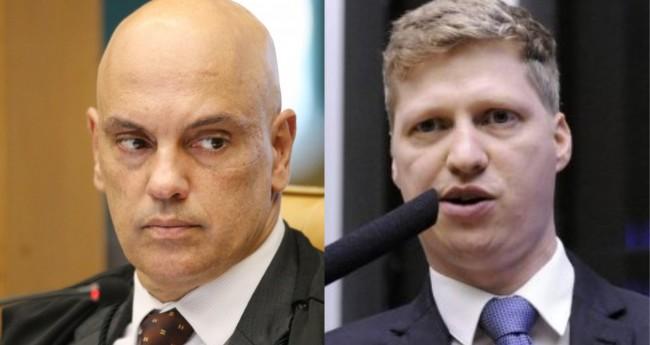 Alexandre de Moraes e Marcel van Hattem - Foto: STF; Câmara