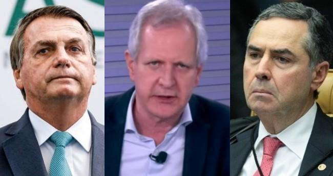Jair Bolsonaro, Augusto Nunes e Luís Roberto Barroso - Foto: PR; Reprodução/JP; STF