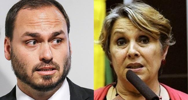 Carlos Bolsonaro e Erika Kokay - Foto: Agência Brasil; Câmara dos Deputados