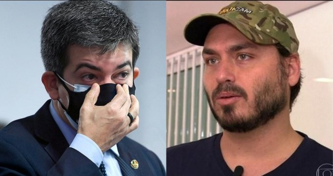 Randolfe Rodrigues e Carlos Bolsonaro - Foto: Senado; Reprodução
