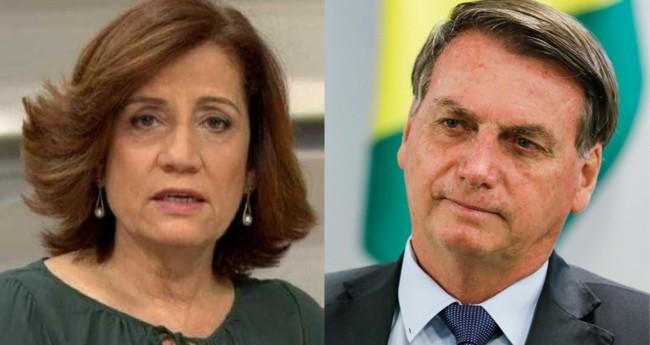 Miriam Leitão e Jair Bolsonaro - Foto: Reprodução; PR