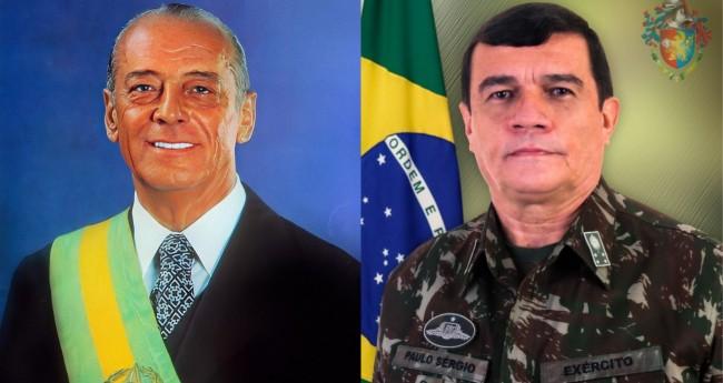 General João Baptista Figueiredo e o Comandante do Exército, General Paulo Sérgio - Foto: Reprodução